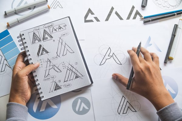 Close up picture of Graphic designer working on sketch